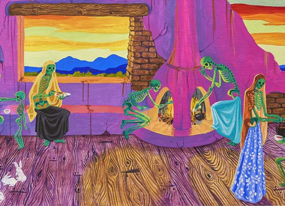 Brightly Colored painting of family of skeletons