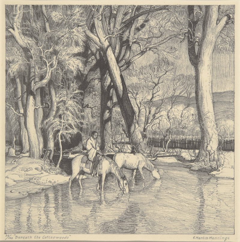 drawing by Hennings, Beneath the Cottonwoods