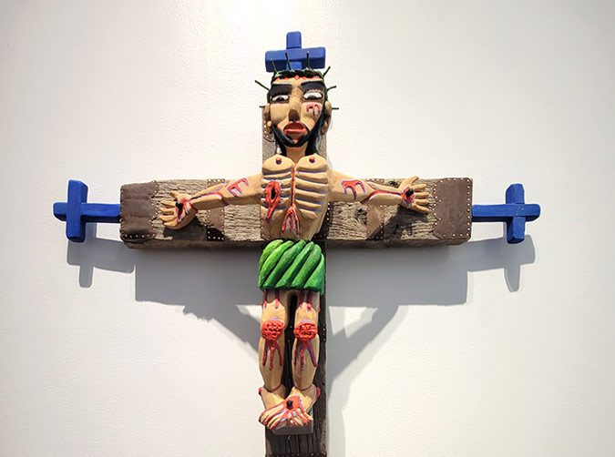 crucifix carved from wood